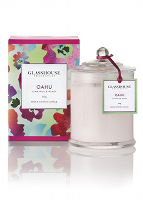 Glasshouse limited edition oahu ilima milk & honey candle. Buy.
