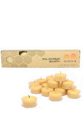 Queen B Beeswax 4hr Clear Cup Tealight Candles