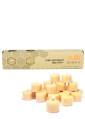 Queen B Beeswax 9hr Clear Cup Tealight Candles
