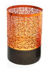 Copper Block Hurricane Large Tea Light Holder