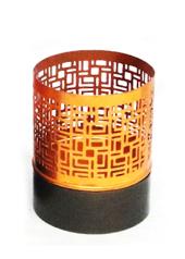 Copper Block Hurricane Small Tea Light Holder
