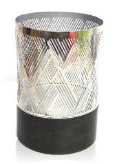 Silver Stripe Hurricane Large Tea Light Holder